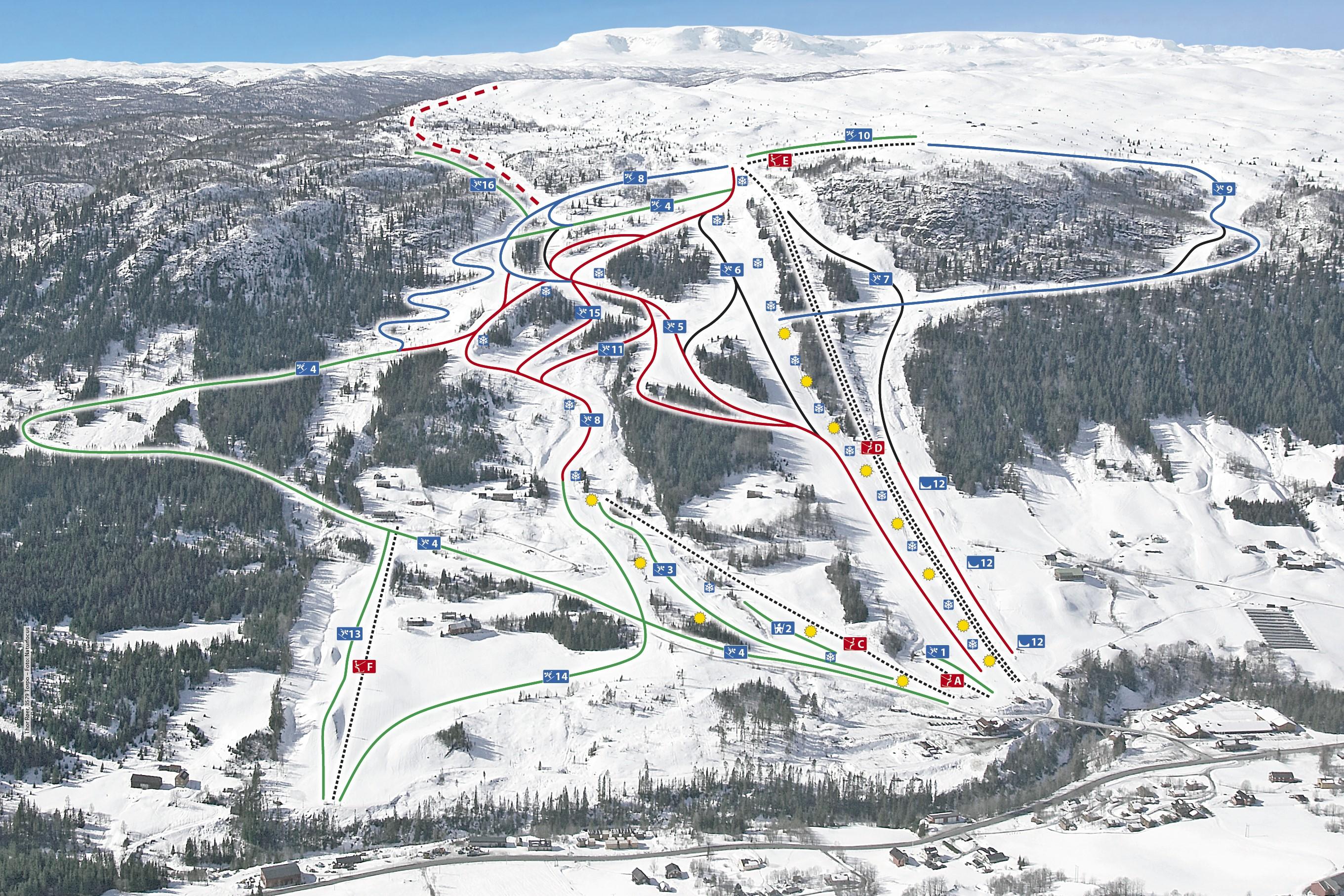 Oversikt over heisar og løyper i Ål Skisenter